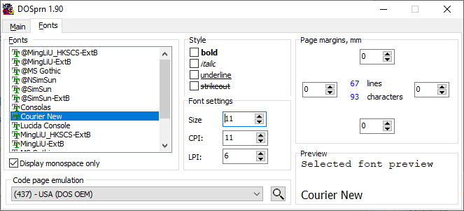 Windows TrueType fonts selectable